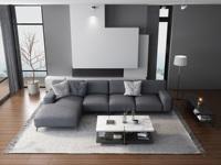 紓康 意式極簡T20沙發 棉麻灰色布藝轉角沙發 (1+3+右貴妃)