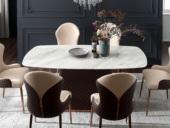 卡伦斯特 轻奢风格 大理石 优质环保皮 多层实木1.4米餐桌