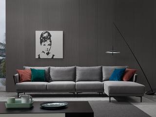 极简风格 科技布 实木底框架 转角沙发(1+3+左贵妃)