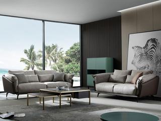 极简风格 科技布+压纹皮 羽绒 实木底框架 沙发组合(2+3)