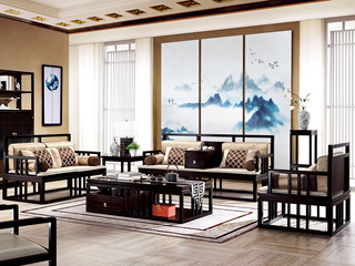 新中式 东南亚进口红檀木 真丝靠包 K903 沙发组合(1+2+3)(不含案几)