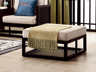 新中式 东南亚进口红檀木 优质细麻(面料) 真丝抱枕 K909 脚踏