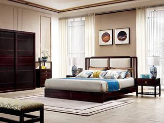新中式 东南亚进口红檀木 麻料靠包W975 1.5米床