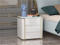 卡伦斯特 实木抽屉 烤漆 不锈钢拉丝封釉镀钛金 床头柜