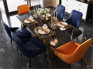 轻奢风格 大理石 进口实木 不锈钢拉丝封釉镀钛金 1.2m餐桌