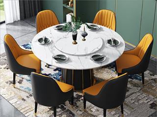 轻奢风格 大理石 不锈钢拉丝封釉镀钛金 1.3m餐桌(含转盘)