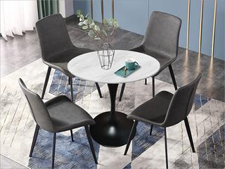 卡伦斯特 轻奢风格 大理石 黑砂铁柱0.8m大理石洽谈桌