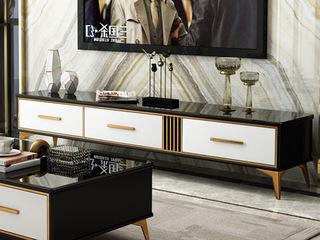 卡伦斯特 轻奢风格 钢琴烤漆 钢化玻璃 实木 不锈钢拉丝封釉镀钛金 电视柜