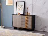 卡伦斯特 轻奢风格 钢化玻璃 实木抽屉 抽面贴木皮+实木脚1.2米餐边柜