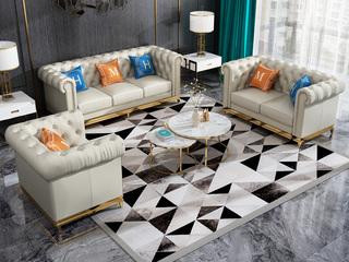 轻奢风格 高档棉麻布 不锈钢拉丝封釉镀钛金 组合沙发(1+2+3)(抱枕随机发货)