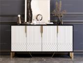 卡伦斯特 轻奢风格 高级密度板钢琴烤漆柜子 不锈钢架子 玻璃1.2m餐边柜