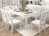 梓华轩 简美风格 泰国进口橡胶木 全实木 象牙白餐桌