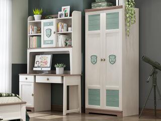 简美风格 主材北美白蜡木 新西兰松木 北美红橡木 深咖色 象牙白 双拼色 儿童二门衣柜