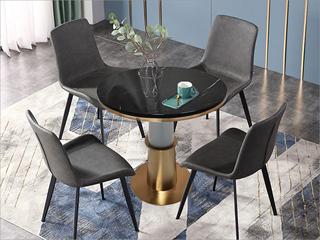 卡伦斯特 轻奢风格 大理石 不锈钢电镀钛金拉丝 铁柱 0.6m大理石洽谈桌