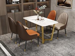 轻奢风格 人造大理石面 镀金框架 1.4m餐桌
