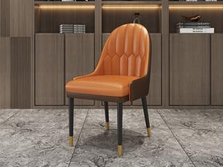 轻奢风格  橡胶木拆装脚 五金套筒 餐椅
