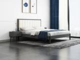 艺家 北欧风格 布纹铁灰 高密度海绵 雅白超纤皮靠背 1.2m床