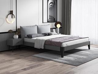 北欧风格 实木框架 高密度海绵 浅灰布靠背 1.8m床