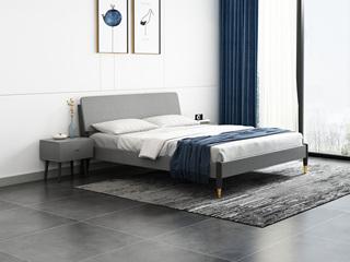 北欧风格 坚固实木框架 床头高度可调节 1.8m床
