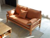 慕森 北欧风格 榉木坚固框架 科技布面料 原木色双人位沙发