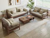 慕森 北欧风格 榉木坚固框架 科技布面料 胡桃色沙发组合(1+3)