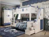 柏莎贝尔 简美风格 优质橡胶木 环保漆 绿色自然 坚固耐用 航海蓝 1.5m双层儿童床(不含梯柜)
