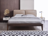 科隆印象 现代简约 头层小黄牛皮  进口卡斯楠木床架 1.8*2.0m床