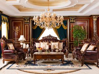 进口桃花芯木 美式古典华丽棕颜色1+2+3沙发组合