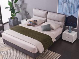 现代简约 实木框架 科技布 九孔纤维绵 优雅中性灰1.8*2.0m双人床