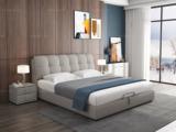 皮坊工艺 现代简约 优质棉麻布艺+实木框架 浅灰色 可拆洗1.5米床