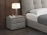 皮坊工艺 现代简约 扪布 浅灰色 床头柜