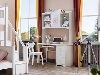 简美风格 泰国进口橡胶木 浅粉+白色三抽直角书台(含键盘架和书架)