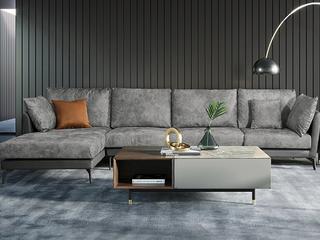 [现货]  极简风格 科技布面料+优质皮艺 俄罗斯进口落叶松坚固框架 转角沙发(1+3+右贵妃)沙发长3.28米 贵妃长1.9米