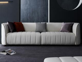 极简风格 优质超纤皮 俄罗斯进口落叶松坚固框架 黑色实木圆木脚 四人位沙发