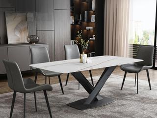 极简风格 高颜值技术岩板桌面(马肚形+圆角直边) 碳素钢框架(磨砂烤漆工艺)1.6米餐桌