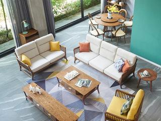 北欧风格 北美进口白蜡木 亲肤棉麻 优雅时尚造型 沙发组合(1+2+3)