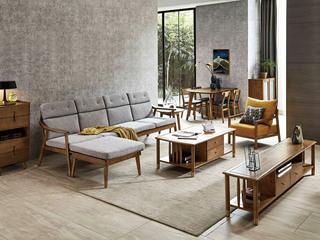 北欧风格 北美进口白蜡木 坚固实木框架 亲肤棉麻 沙发(四人位+脚踏)