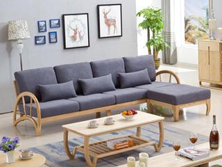 北欧风格 北美进口白蜡木 弧形工艺 稳固承载 亲肤棉麻 沙发(四人位+脚踏)