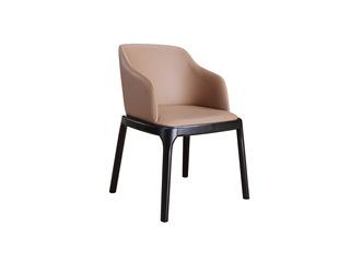 现代简约 北美进口白蜡木 西皮坐垫 舒适靠背 双扶手餐椅