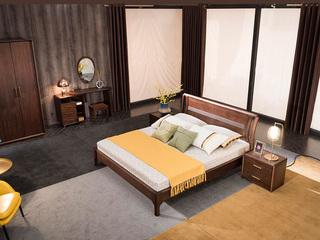 意式极简 优质胡桃木 别致床头设计 耐磨耐腐 清晰木纹 1.8*2.0m床