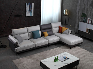 现代简约 科技布面料  弹簧底坐 转角沙发(1+3+左贵妃)