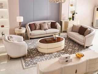 简美风格 北美进口榉木坚固框架 棉绒布面料 沙发组合(1+2+3)