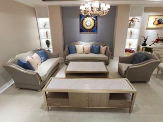 简美风格 北美进口榉木坚固框架 皮艺+棉麻布面料 沙发组合(1+2+3)
