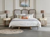 美克世家 简美风格 北美进口榉木坚固框架 棉麻布面料 松木床板条床 1.8*2.0米床