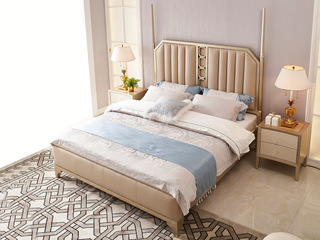简美风格 北美进口榉木坚固框架 皮艺 松木床板条床 1.8*2.0米床
