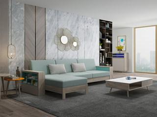 现代简约 坚韧白蜡木 实木框架 储物扶手 拉伸功能沙发(3+右贵妃)