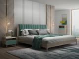简图 现代简约 北美进口白蜡木 松木板 布艺靠背 1.8m床