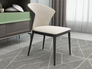 极简 西皮 黑砂碳素钢 餐椅