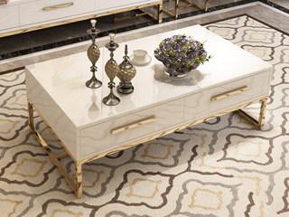轻奢风格 镀金不锈钢 细腻光滑台面 优雅白 1.2m茶几