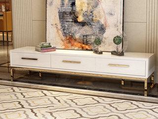 轻奢风格 镀金不锈钢 细腻光滑台面 优雅白 2.0m电视柜